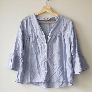Madewell Sz S Veranda Bell Sleeve Shirt Blouse